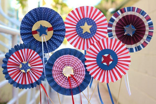[Article Image] - DIY Red, White and Blue Pinwheel Rosettes