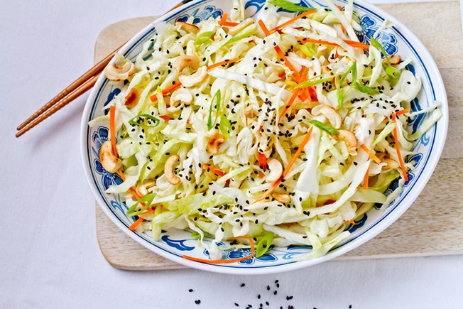 [Article Image] - Cabbage Cashew Salad with Sesame Dressing