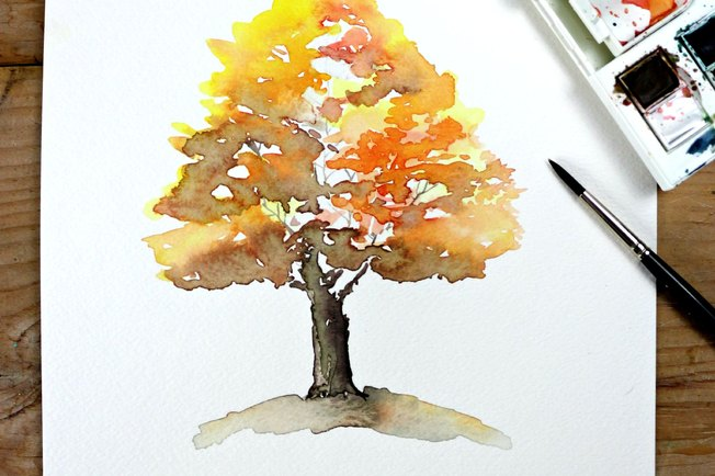 [Article Image] - Easy Autumn Tree Watercolor Painting