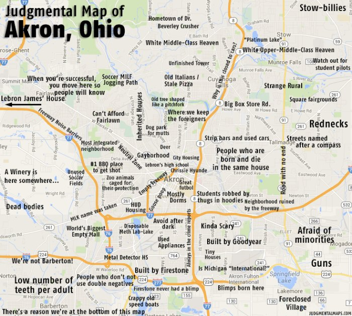 Humorous, Stereotypical Maps Of Ohio