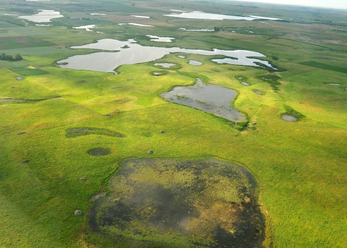 rassland conservation easement on Sand Lake Wetland Management District - aerial views in south dakota
