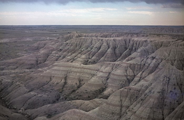 Badlands - aerial views in south dakota