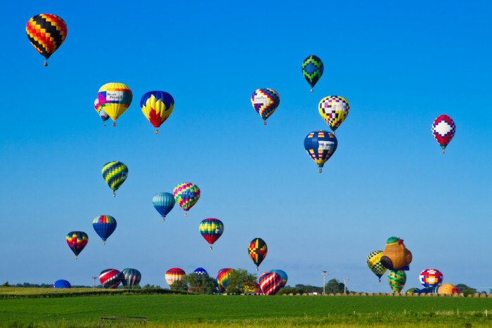 In the summer, hot air balloons can be seen for miles.