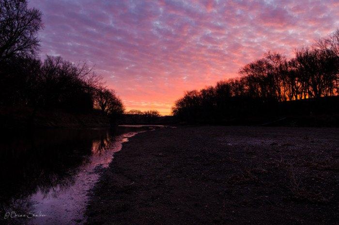 along the creek - stunning sunsets in south dakota