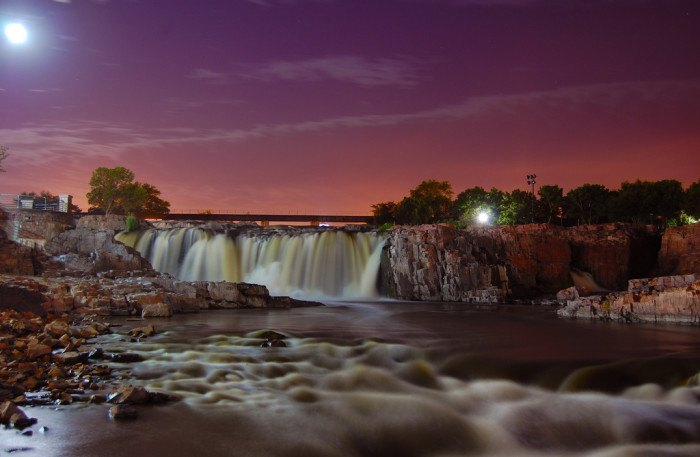 Falls Park in Stunning Colors - photographed at night