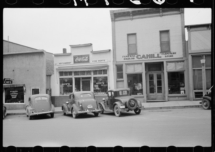 Cars on main street in Sisseton, South Dakota.