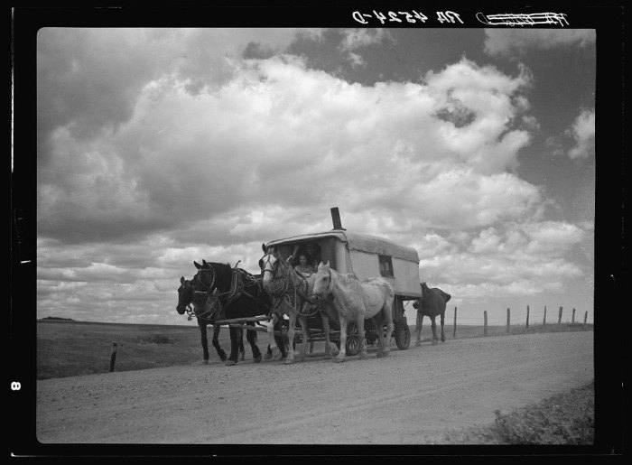 Headed West in South Dakota, this family packed up all their things in this covered wagon.