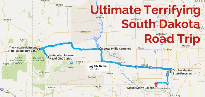 Map of haunted road trip