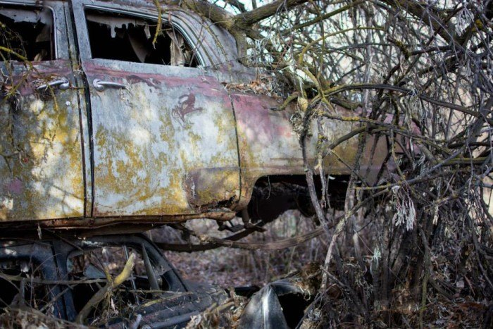 Abandoned car cemetery in Idaho