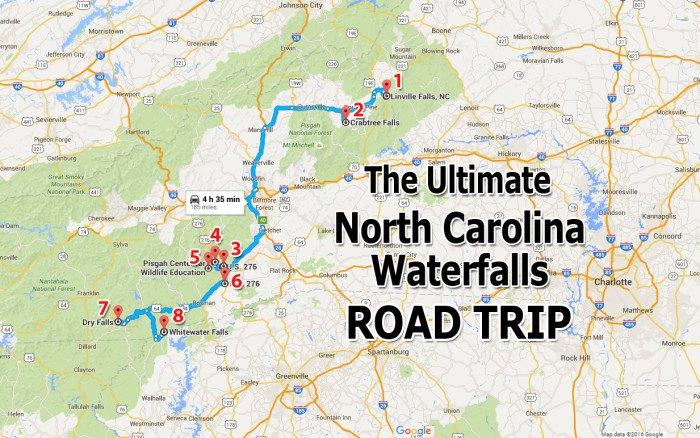 North Carolina Waterfalls Map Ultimate North Carolina Waterfall Road Trip Map