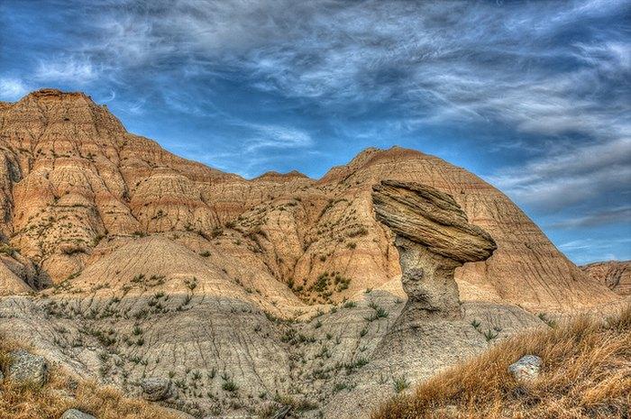 Balancing rock at Badlands National Park