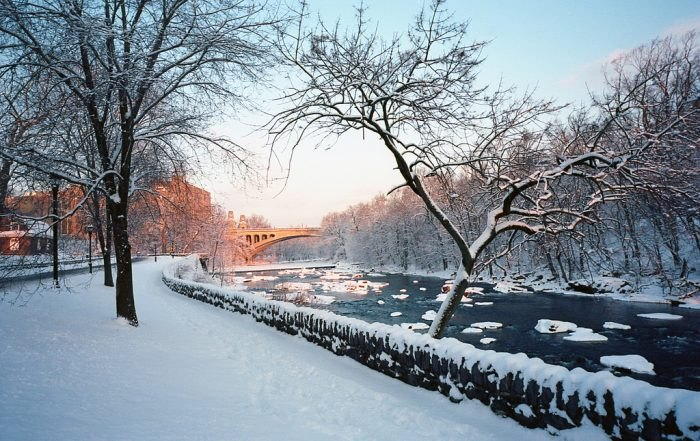 Snow covers the Brandywine River Wilmington Delaware