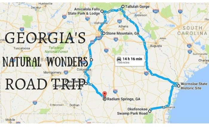Show A Map Of Georgia.Beautiful Georgia Natural Wonders Road Trip