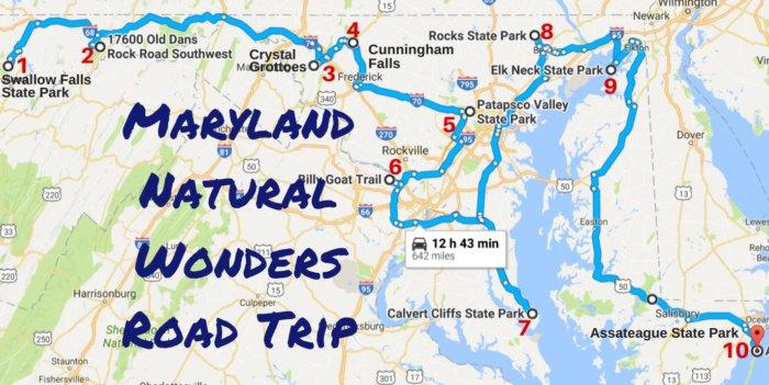 Map Of Georgia 7 Wonders.Amazing Maryland Natural Wonders Road Trip