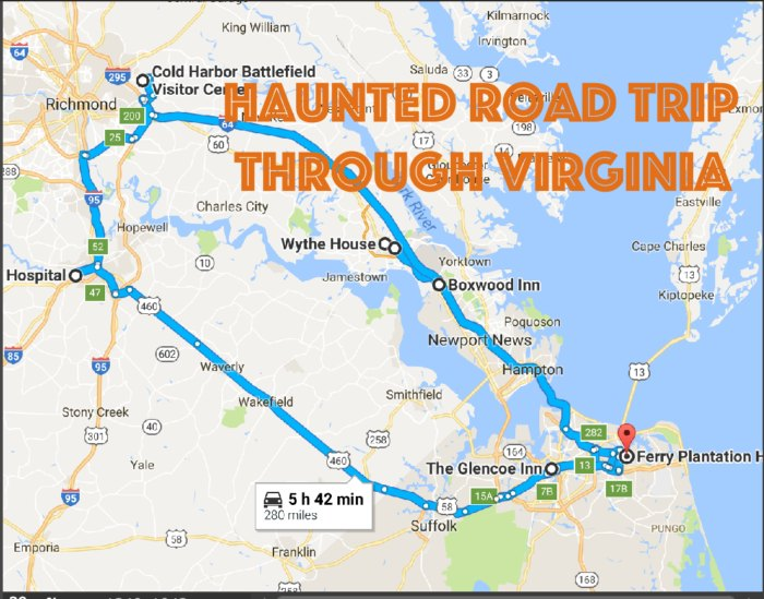 This Road Trip Takes You To The Most Haunted Places In Virgina I Map Of Cities In Virginia on map of cities by virginia, thomas charles city county virginia, street map virginia, map of mountains in virginia,