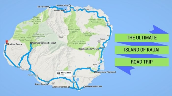 The Ultimate Kauai, Hawaii Road Trip on molokai island map, corpus christi island map, kauai hawaii, kihei island map, kauai places to visit, rome island map, new orleans island map, oahu map, kilauea map, lanai island map, mississippi island map, oregon island map, connecticut island map, ohio island map, lihue island map, maui island map, virginia island map, myrtle beach island map, san jose island map, hawaii map,