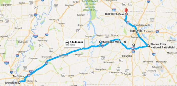 https://www.google.com/maps/dir/Graceland,+Elvis+Presley+Blvd,+Memphis,+TN+38116/Hurricane+Mills,+TN/Carnton+Plantation,+Eastern+Flank+Circle,+Franklin,+TN/Stones+River+National+Battlefield,+Old+Nashville+Highway,+Murfreesboro,+TN/Bell+Witch+Cave,+Keysburg+Road,+Adams,+TN/@35.813987,-89.3494814,8z/data=!3m1!4b1!4m32!4m31!1m5!1m1!1s0x87d57d31cebd7225:0xfd48f1ff0c23cb11!2m2!1d-90.0260493!2d35.0476912!1m5!1m1!1s0x887b5eae1d1c7275:0xe914077406101bd1!2m2!1d-87.781969!2d35.9711736!1m5!1m1!1s0x88647fa78518fce7:0x5c15b9ccc785d1cd!2m2!1d-86.858289!2d35.903931!1m5!1m1!1s0x88640804a3c33125:0xd7a7012ead39e11!2m2!1d-86.4348155!2d35.8805236!1m5!1m1!1s0x886502b49dfd4983:0x336a1709d1e2e6b0!2m2!1d-87.06073!2d36.5907484!3e0