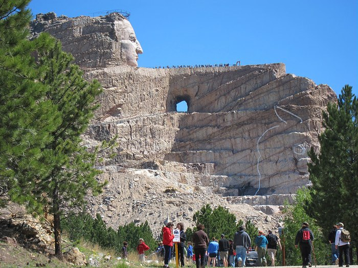 Hikers making the trek up to Crazy Horse