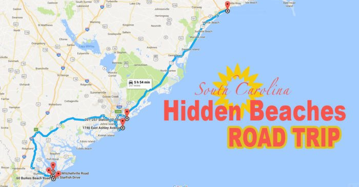 South Carolina Beaches Map This Hidden Beaches Road Trip To The Best Beaches In South Carolina