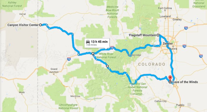 This Map Shows The Shortest Route To 5 Of Colorado\'s Most ...