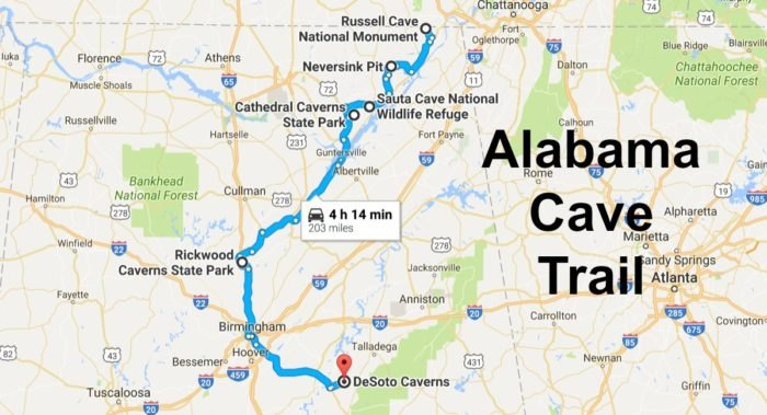 Road Trip Map Of Alabama\'s 6 Most Incredible Caves