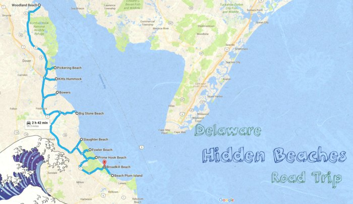 Delaware Beaches Map Take This Road Trip To 10 Of The Best Beaches In Delaware