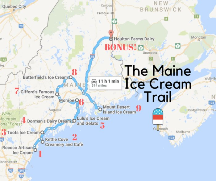 There's Nothing Better Than Maine's Mouthwatering Ice Cream ... on north maine woods map, maine coast map, cliff lake maine map,
