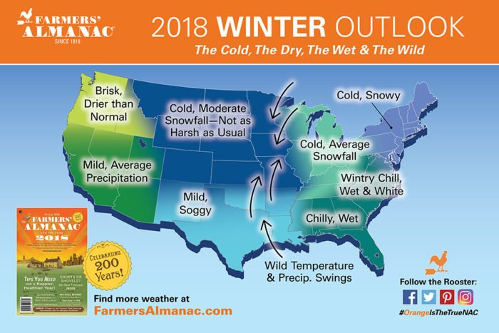 Farmers' Almanac Alabama Winter Predictions 2017-2018
