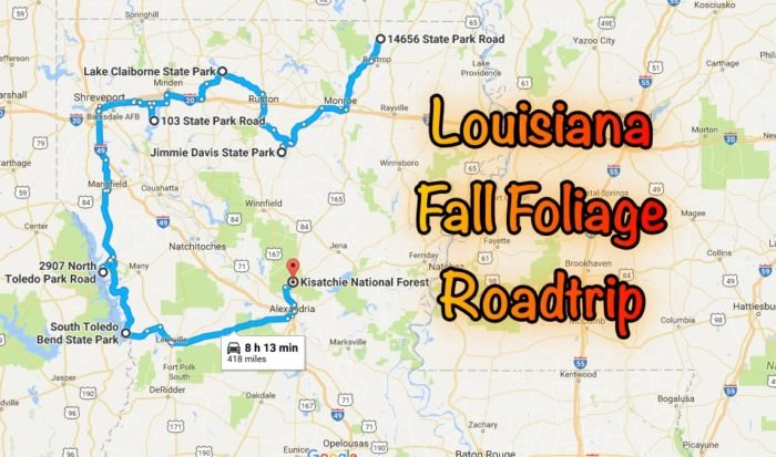This Road Trip Will Take You To The Best Fall Foliage In ... Louisiana Lake Claiborne State Park Map on louisiana grand isle state park map, louisiana state map cities, louisiana chicot state park map, louisiana purchase state park arkansas,