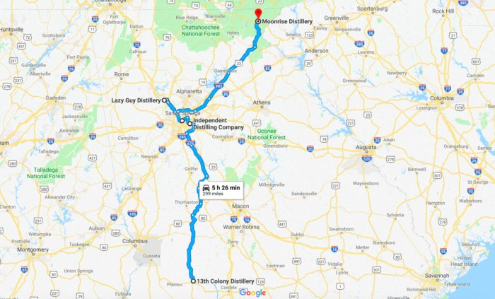 Google Map Of Georgia.The Ultimate Georgia Bourbon Trail Features Some Of The Best Local