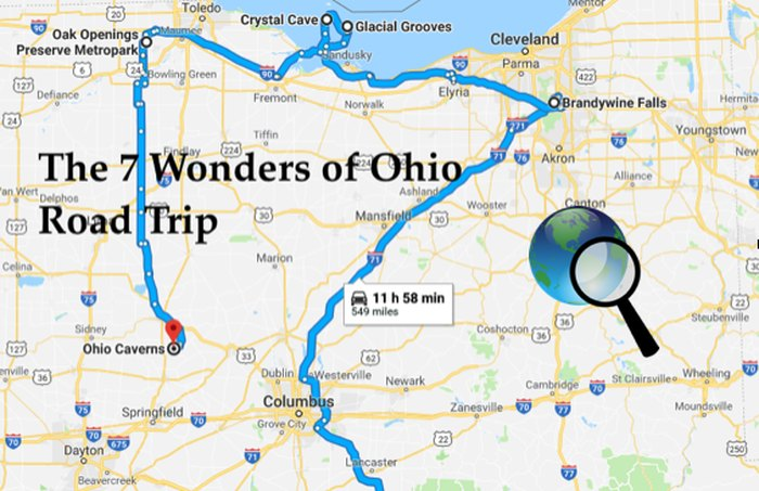 Map Of Georgia 7 Wonders.The 7 Wonders Of Ohio Road Trip