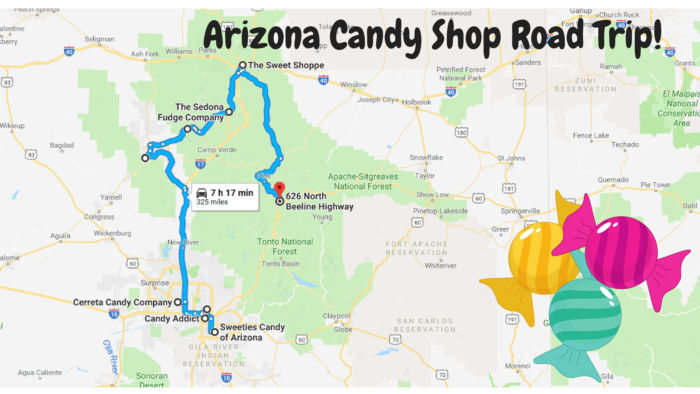 Map Of Young Arizona.Road Trip To 9 Of The Best Candy Shops In Arizona