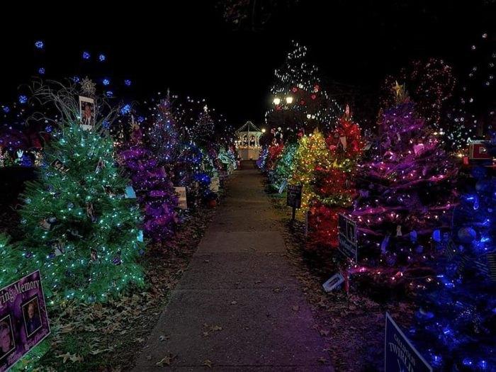 Purple Christmas Tree Lights.Best Christmas Tree Trail In Ohio Gallipolis In Lights