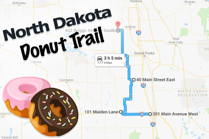 The Best North Dakota Donut Trail For A Delicious Day Trip Map Of Carrington North Dakota on carrington nd map, foster county nd map, carrington north dakota weather, carrington nd weather, carrington north dakota hotels, fortuna nd map, mohall nd map, kensal nd map, cavalier nd map,