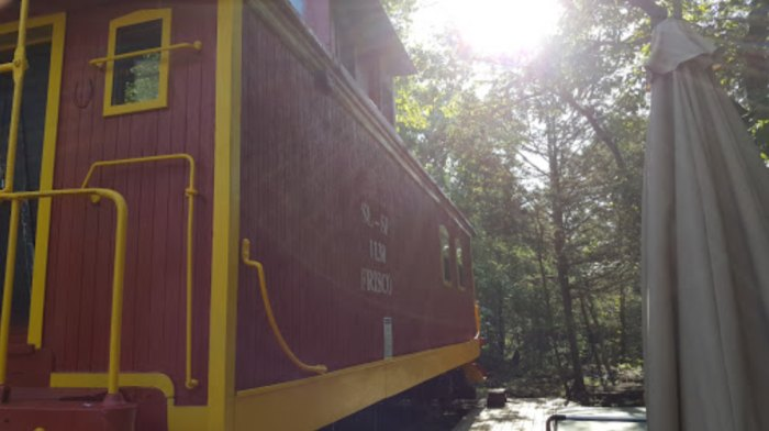 Livingston Junction Cabooses And Cabin In Arkansas Are Actual Box Cars