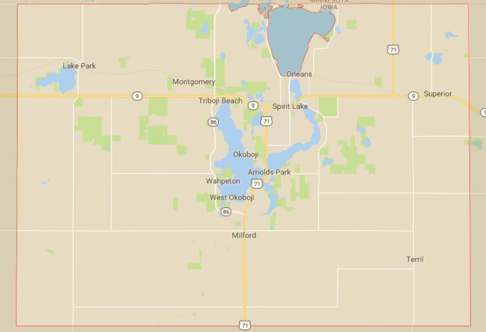 inson County Is Home To The Iowa Great Lakes on milford iowa, map of west davenport iowa, lake okoboji arnold's park iowa, map okoboji bridges bay resort, dickinson county iowa, map of lake okoboji,