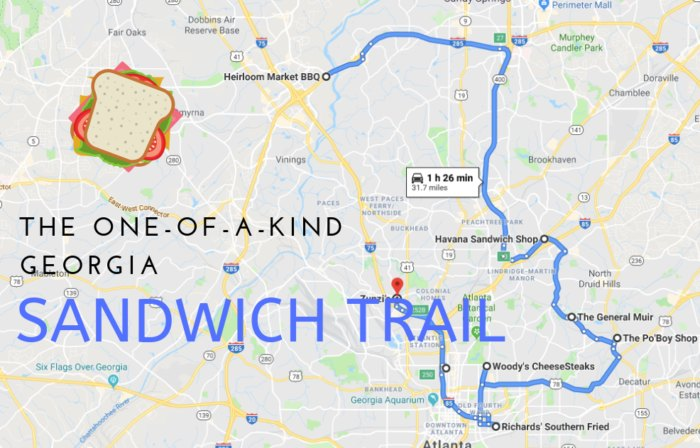 Google Map Of Georgia.Take The Sandwich Trail In Georgia For An Epic Lunch