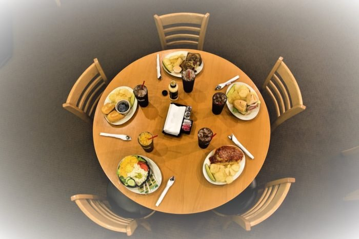 The Mall Deli table set with sandwiches