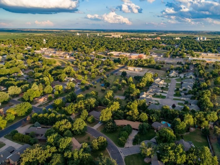 Aerial view of Abilene in the spring or summertime.