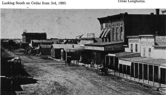 Photo from 1880, looking south on Cedar street from 3rd.