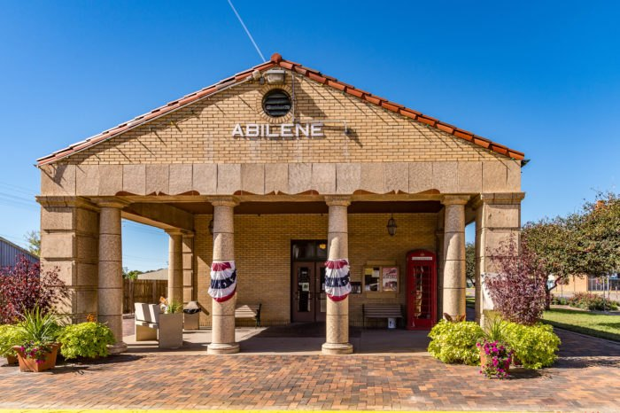 An Abilene train station. I am not sure whether it is still in use or just a historical building.