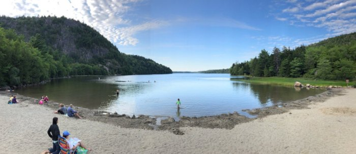 Wade In The Refreshing Waters On The Scenic Beach At Echo Lake In Maine