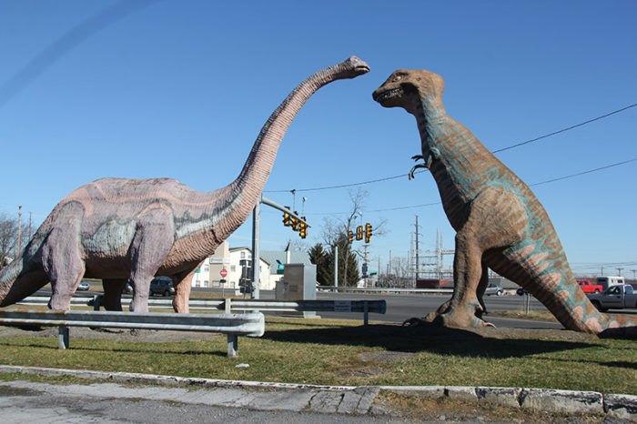 Apatosaurus and T-Rex Statues at Dinosaur Land