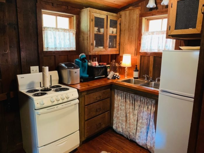 Historic Log Cabin Airbnb Kitchen Arkansas