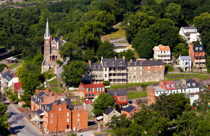 Harpers Ferry Aerial View West Virginia