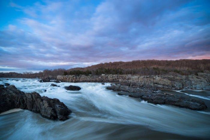 Great Falls Park at Sunset in Virginia