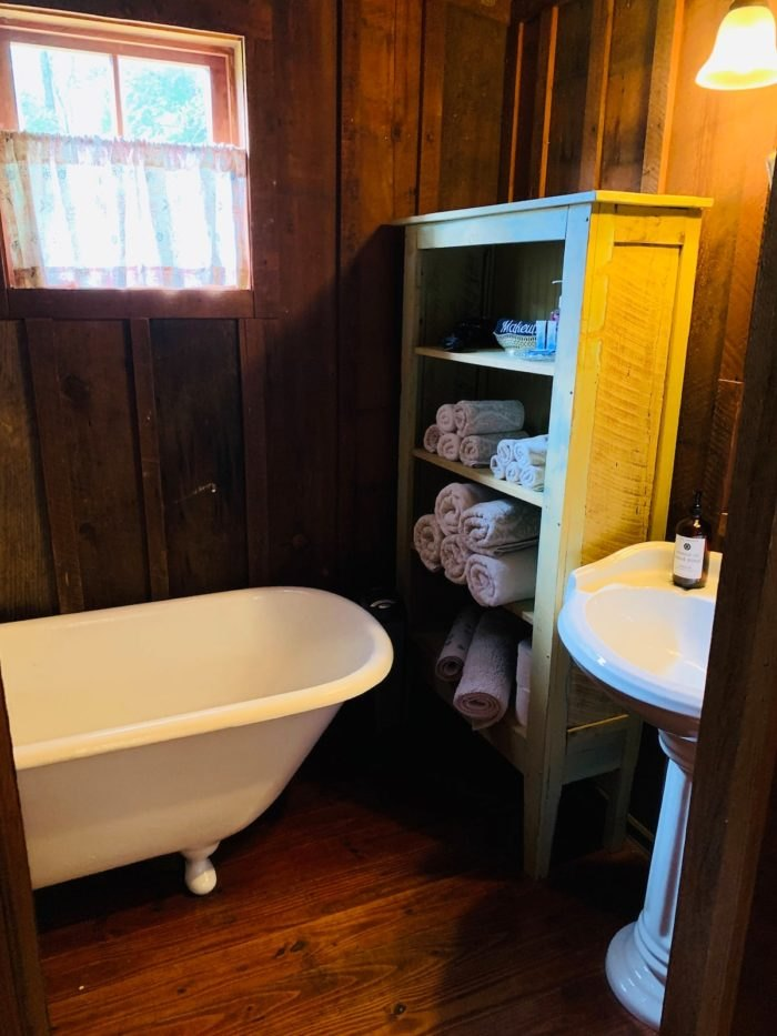 Historic Log Cabin Airbnb Bathroom Arkansas
