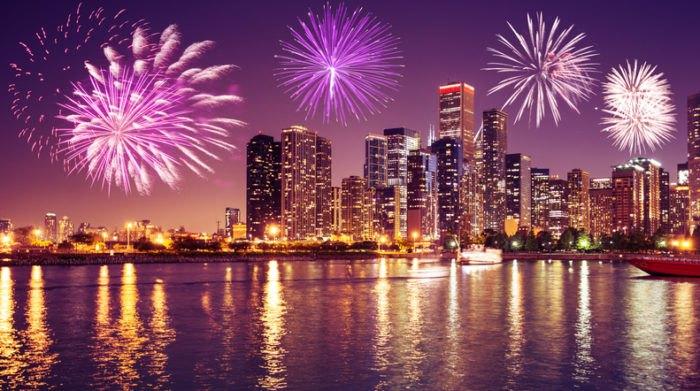 Chicago Skyline Fireworks Illinois