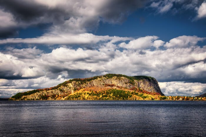 view of mountain on Moosehead Lake, Maine