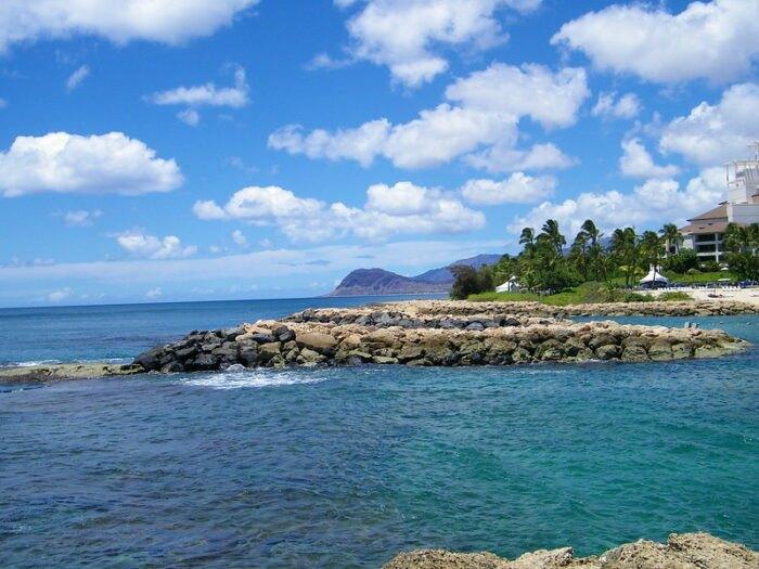 the ocean off the Leeward Coast in Hawaii